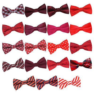 (DQT Red Mens Bow Tie Solid Plain Plaid Patterned Floral Paisley Polka Dot Tartan)