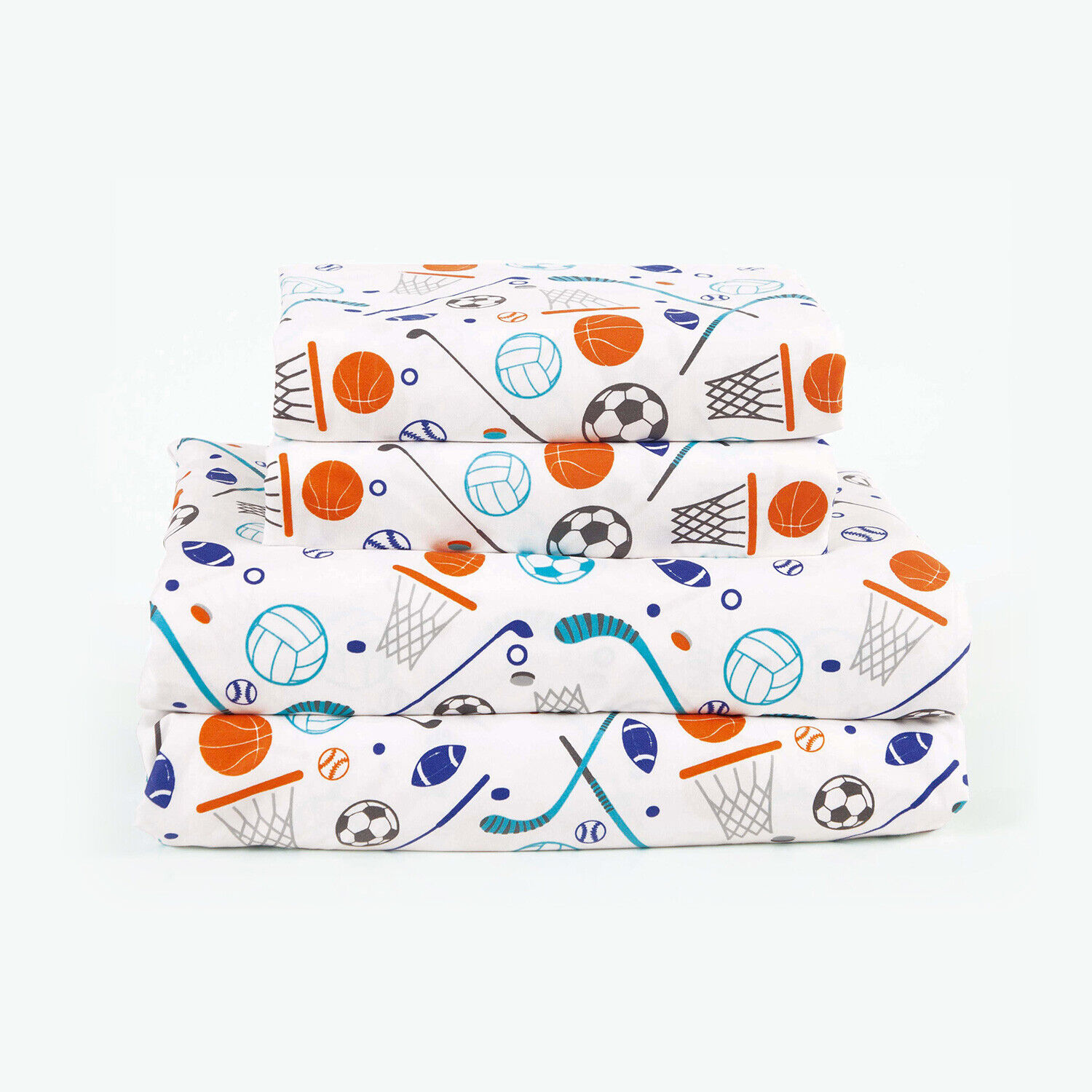 Twin, Full or Queen Sports Microfiber Bed Sheet Set Deep Pocket, Blue and Orange Bedding