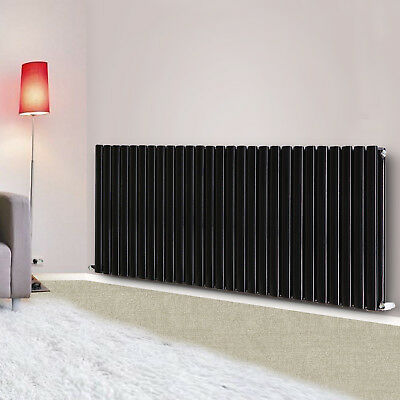 600x1593 mm Horizontal Double Panel Designer Modern Oval Column Radiator Black