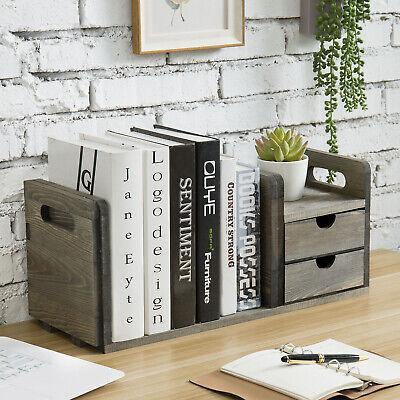 Mygift Vintage Gray Wood Desktop Expandable Bookshelf Station With 2 Drawers