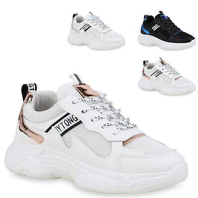 Damen Sneaker Metallic Turnschuhe Schnürer Freizeitschuhe 833780 Trendy Neu