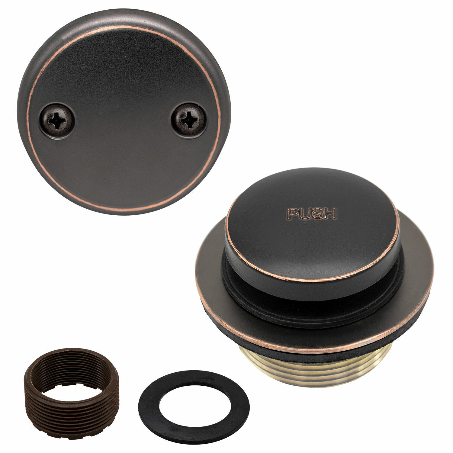 Toe Touch Tub Drain Replacement Bathtub Overflow Cover Kit, Oil Rubbed Bronze Bath