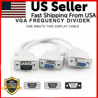 VGA SVGA 1 PC TO 2 MONITOR Male to 2 Dual Female Y Adapter Splitter Cable 15 PIN