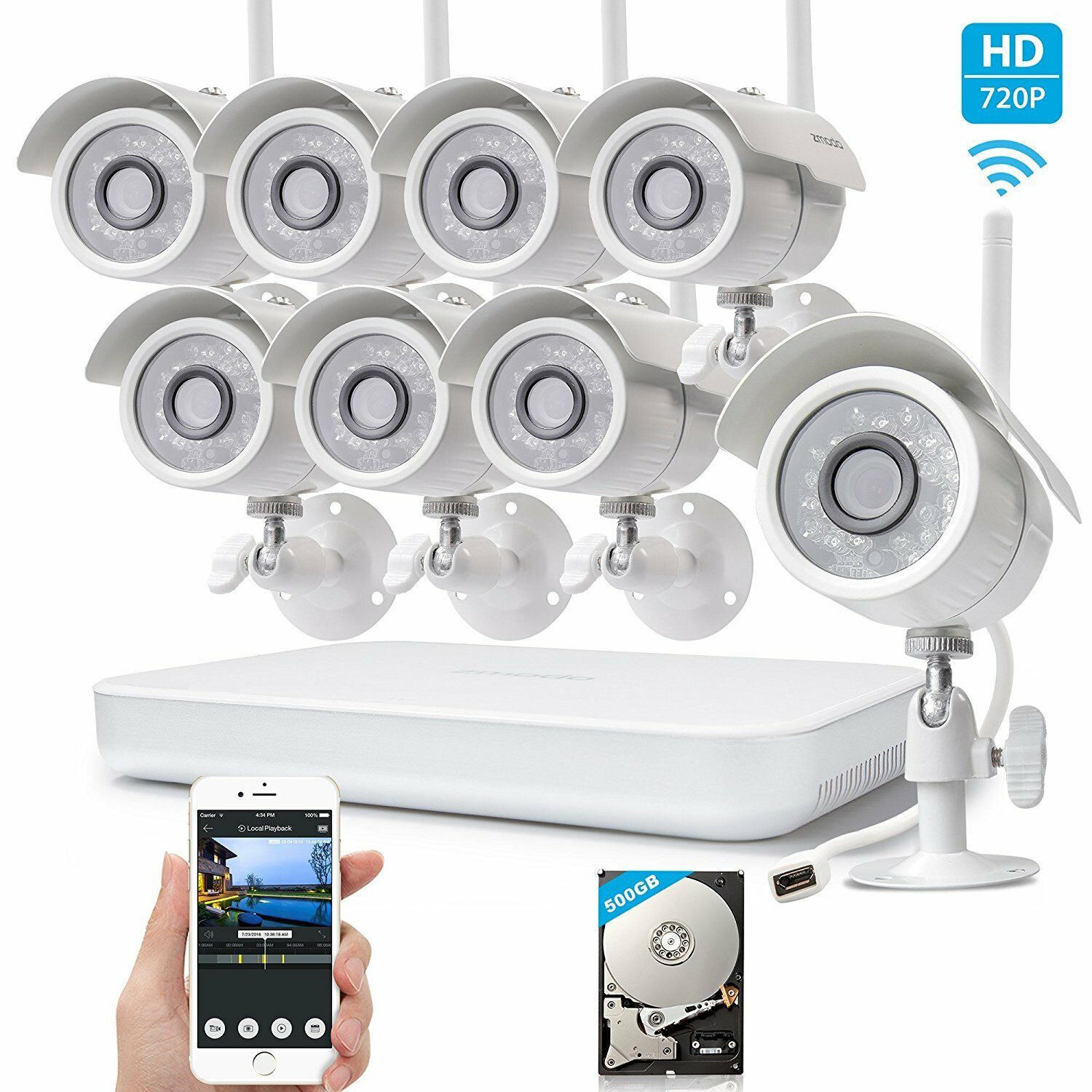 Zmodo 1080p HDMI 8CH NVR System With (8) 1.0 Megapixel Wireless Cameras 500GB