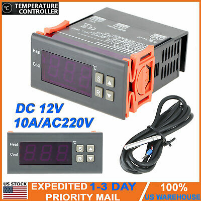 Digital Temperature Controller Ac 10a 220v Ntc Temp Sensor Thermostat Control Us