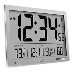 Marathon Slim Atomic Wall Clock with Jumbo Display, Calendar, Indoor Temp - Gray