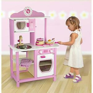 Childrens Kids Pink Wooden Pretend Play-Kitchen Toy Play-Set Oven,Sink,Hob,Pans