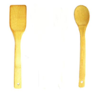 Lot de 2 pièces cuillère en bois spatule bambou ustensiles Cuisson Cuisine Jeu