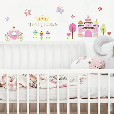 HAPPI CUPCAKE LAND WALL STICKERS 56 Cupcakes Castle Princess Crown Trees Decals