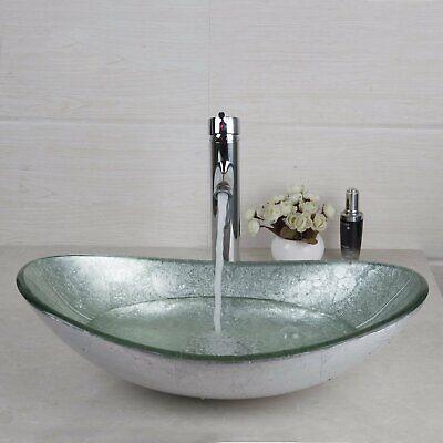 Glass Artistic Vessel Sink Bowl Faucet Drain Combo Bathroom Household Oval (Glass Vessel Sink Drain)