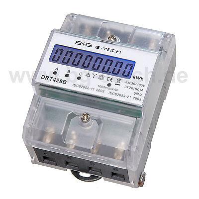 ***PORTOFREI*** Stromzähler  Drehstromzähler S0 LCD 20(80)A für DIN Hutschiene