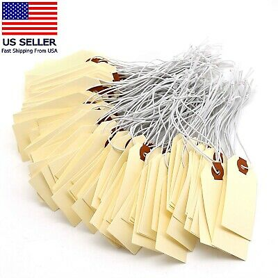 Manila Shipping Tags With Elastic Rubber Bands Double Layer Reinforced Eyelets