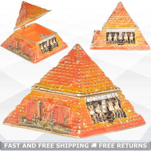 Egyptian Pyramid Vintage Trinket Box With Hinged Lid Enamel Bejeweled Rhinestone