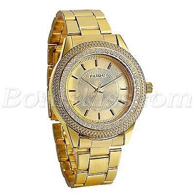 Mens Luxury Gold Tone Stainless Steel Strap Rhinestone Quartz Analog Wrist Watch Analog Gold Tone Wrist Watch
