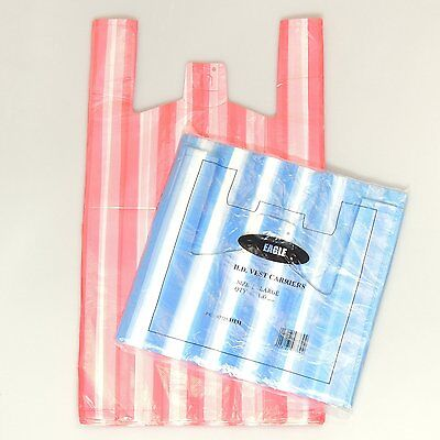 200 X  NEW LARGE CANDY STRIPE Plastic Vest Carrier Bags 11