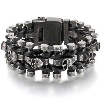 MENDINO Men's Stainless Steel Leather Bracelet Wide Skull Belt Buckle Adjustable