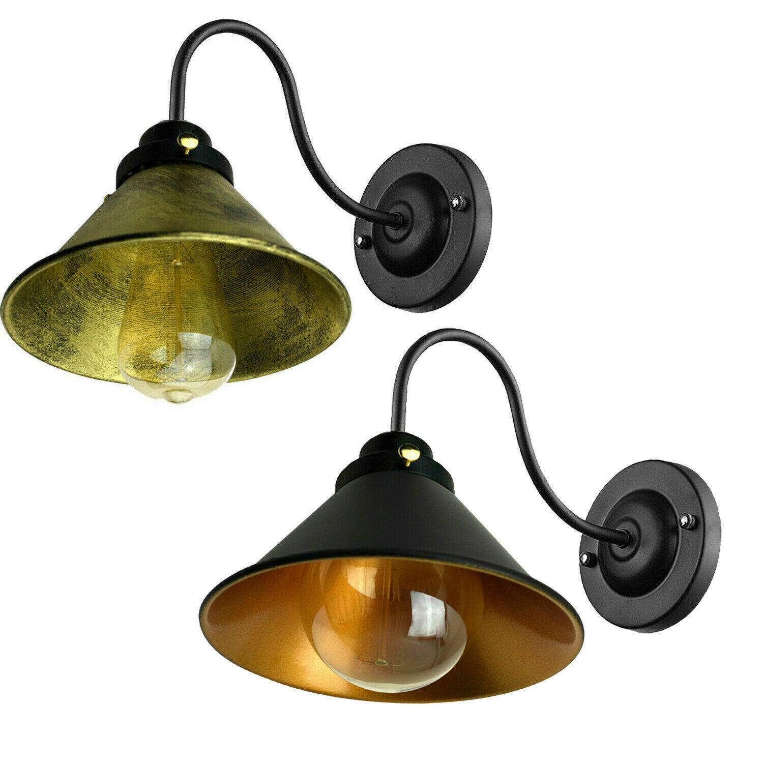 Wall Sconce Vintage Light Retro Industrial Iron Wall Lamp Shade Loft Brushed Ebay
