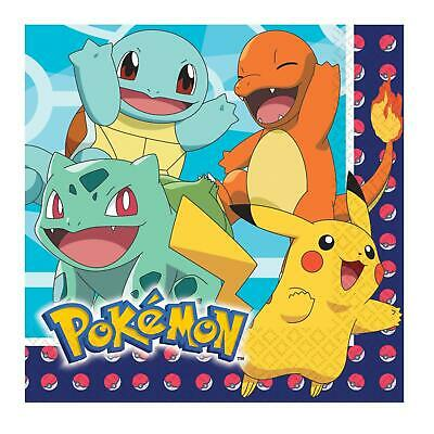 POKEMON PACK OF 16 PARTY NAPKINS PIKACHU SQIRTLE BULBASAUR CHARMANDER PARTWARE