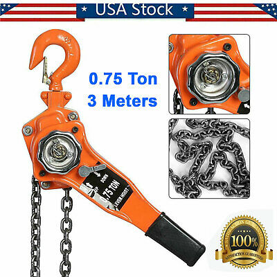 0.75 Ton 3 Meters Lever Block Chain Hoist Ratchet Type Come Along Puller Lifter