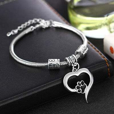 Black Red Paw Print Bracelet Jewellery Chain Love Heart Pendant Beaded Charm Hot](Red Paw)