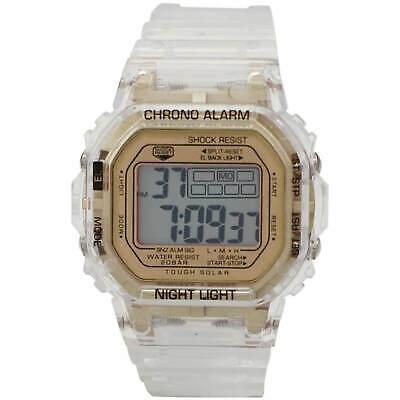Gold Face Classic Retro Style Transparent LCD Watch Men Women Fashion Wristwatch