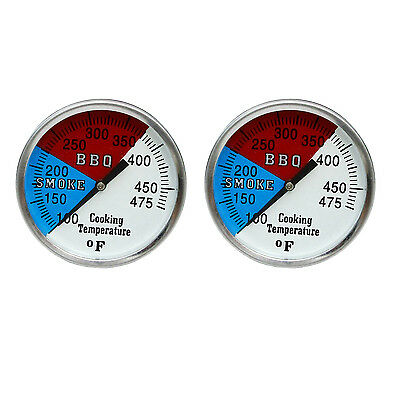 "RWB BBQ CHARCOAL GRILL WOOD SMOKER OVEN PIT TEMP GAUGE THERMOMETER BUY 2-2"" 475"
