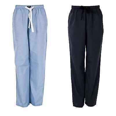 Baumwolle Gewebte Hose (2x Pack MG-1 Pyjamahose Schlafanzughose, Homewear gewebt Herren schwarz blau wei)