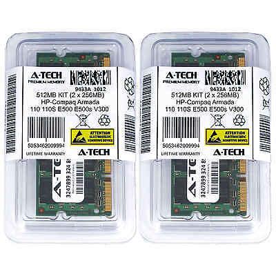512MB KIT 2 x 256MB HP Compaq Armada 110 110S E500 E500s V300 Ram (512 Mb Memory Kit)