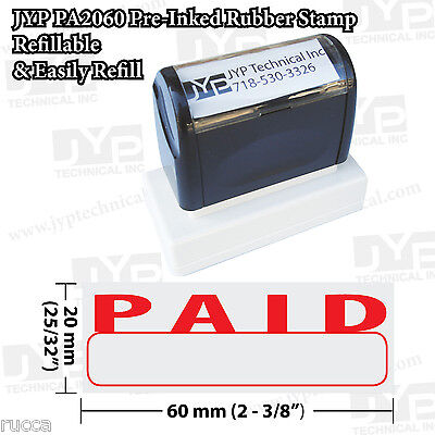 New Jyp Pa2060 Pre-inked Rubber Stamp With Paid W. Writing Box