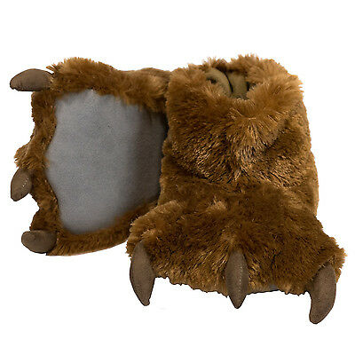 Lazy One Brown Bear Paw Super Soft Slippers Adult & Kids House Shoes