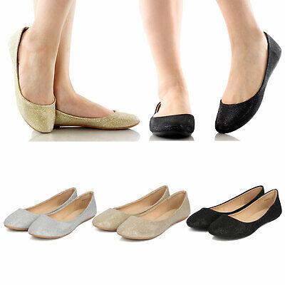 Women's Slip On Glitter Shimmer Round Toe Ballet Flats Ballerina Flat Shoes