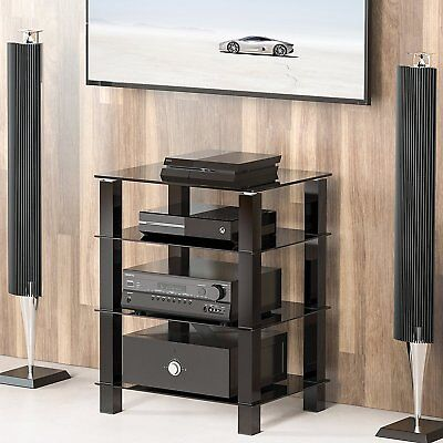 4-Tier Black Glass Media Component Stand Audio Rack AV Tower Video Shelves ()