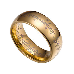 Gold Tungsten Carbide 5 6 7 8MM Lord Of The Rings Band Plain Size 5-13