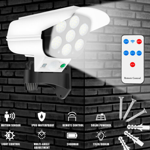 Dummy Outdoor Camera Fake Security CCTV Cam with Solar Motion Sensor LED Light