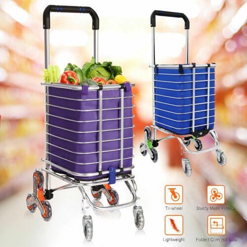 Foldable Shopping Cart 8-wheels Climbing Trolly Waterproof Removable Heavy Duty