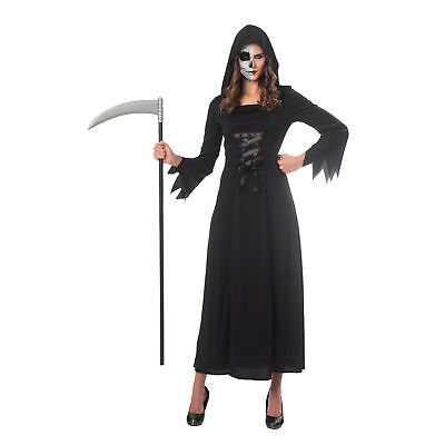 Ladies Grim Reaper Costume Adult Death Robe Halloween Womens Fancy Dress Outfit - Woman Death Halloween Costume