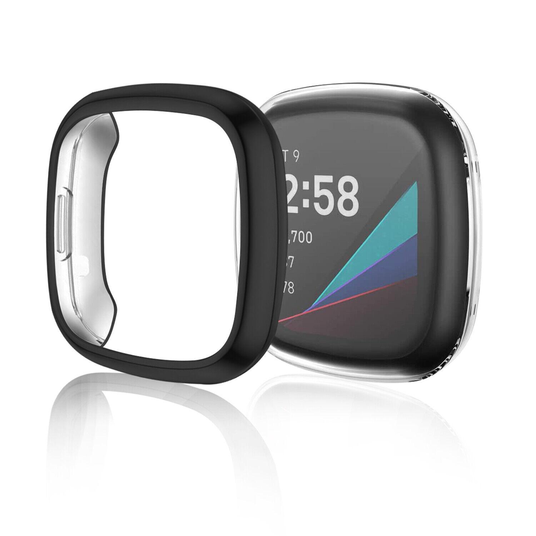 2Pack For Fitbit Versa 3/Sense Screen Protector Case Cover AllAround Case Bumper Cell Phone Accessories