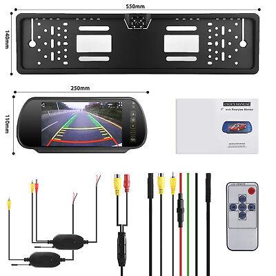 """Funk 7"""" Rückspiegel Bildschirm Monitor+Auto 170°Nummernschild Rückfahrkamera DE"""