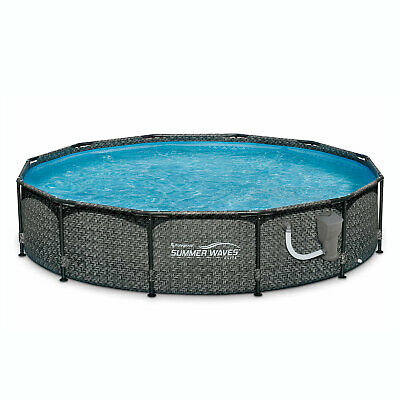 "Summer Waves 12' x 33"" Above Ground Pool Set w/ Pump, Dark Wicker"
