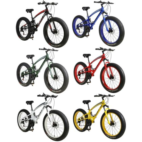 "26"" 21 Speed 4.0"" Fat Tire Bike Snow Grass Sand Dual Shock S"