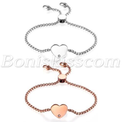 Bracelet - Women's Stainless Steel Love Heart Charms Freely Adjustable Bracelet Chain 22cm