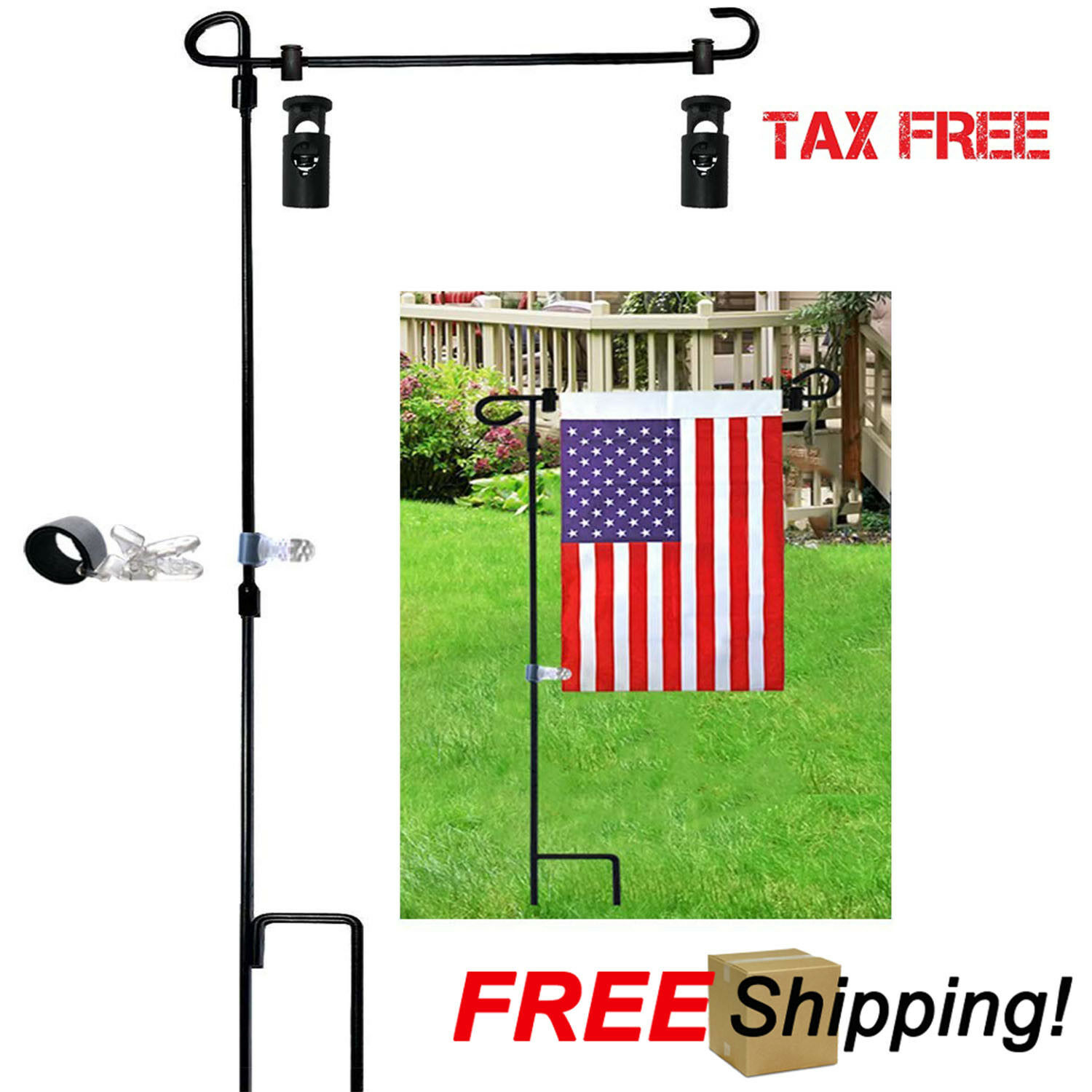 Garden Flag Stand-Holder-Pole with Garden Flag Stopper and A