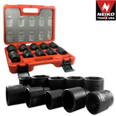 34 Dr Drive Black Impact Socket Wrench Tool Set Dual Size Metric And Sae