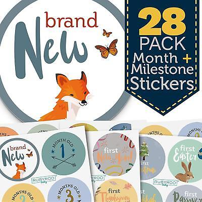 Monthly Baby Stickers   28 First Year Milestone Sticker Pack For Boy  Wlnd