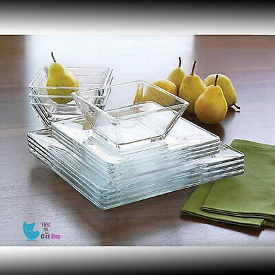Dinnerware Set 12 Pcs Modern Square Thick Clear Glass Dinner Plates Bowls (Oven Safe Square Bowls)