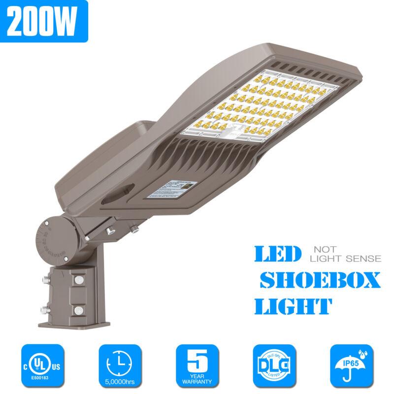 200W Outdoor LED Shoebox Area Light Commercial Parking Lot Street Lighting 5000K