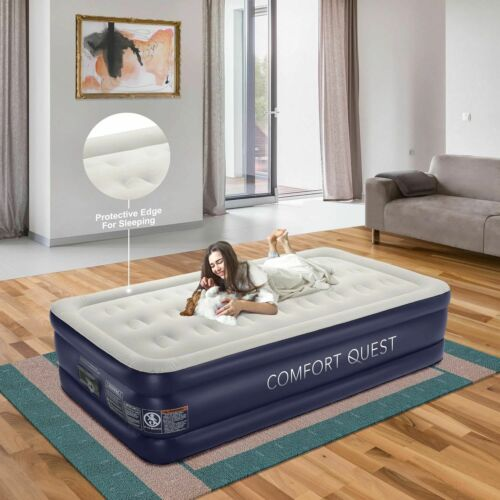 Comfort Quest Air Mattress With Built-In Pump, Inflatable Blow Up Air Bed (Twin)