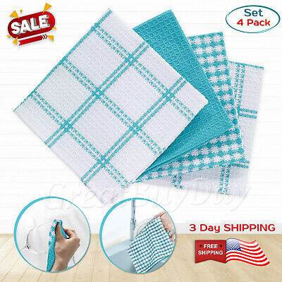 Towel Kitchen Towels Set 4Pack Cotton Dish Cloth Hand Best Waffle Flat Textiles