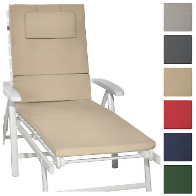 Sunlounger Cushion 200x60x5cm Garden UV Resistant Steamer Recliner Pad Cream
