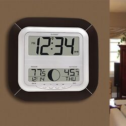 Mocha Digital Alarm Clock Wall Desk Time Day Date Moon Atomic Temp Large Display